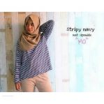 Baju Hijab Murah Stripy Top Navy