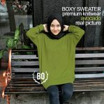 Baju Rajut Online Boxy Sweater Avocado