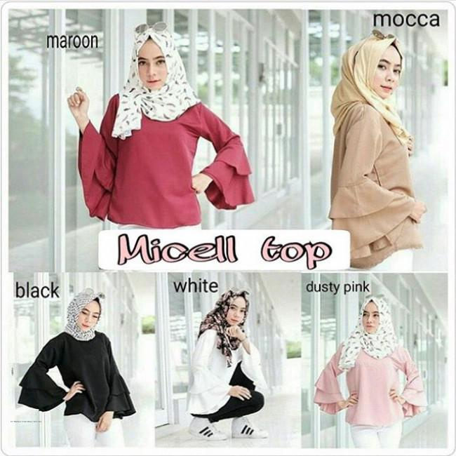 Tunik Atasan Wanita Blouse Muslim Leona Puff Top Merah. Source · Grosir .
