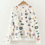 Busana Muslim Terbaru Cartoon Full Print Sweater