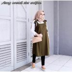 Busana Hijab Murah Army Overall 2in1