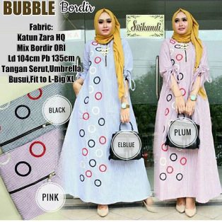 Baju Hijab Modern Burbble Bordir Dress