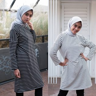 Jual Baju Muslim Stripe Long Tunik HQ