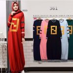 Grosir Baju Hijab Fendi Stripe Dress