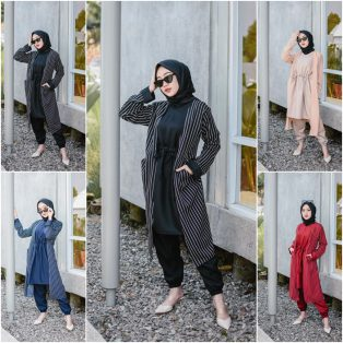 Baju Muslim Terbaru Stripe Japan Set